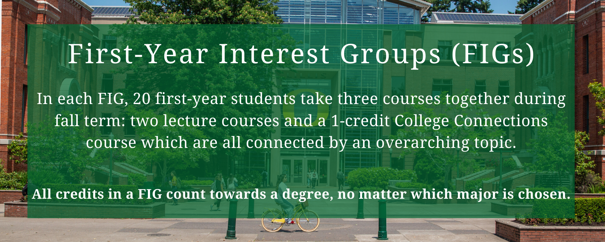 In each FIG, 20 first-year students take three courses together during fall term: two lecture courses and a 1-credit College Connections course which are all connected by an overarching topic.